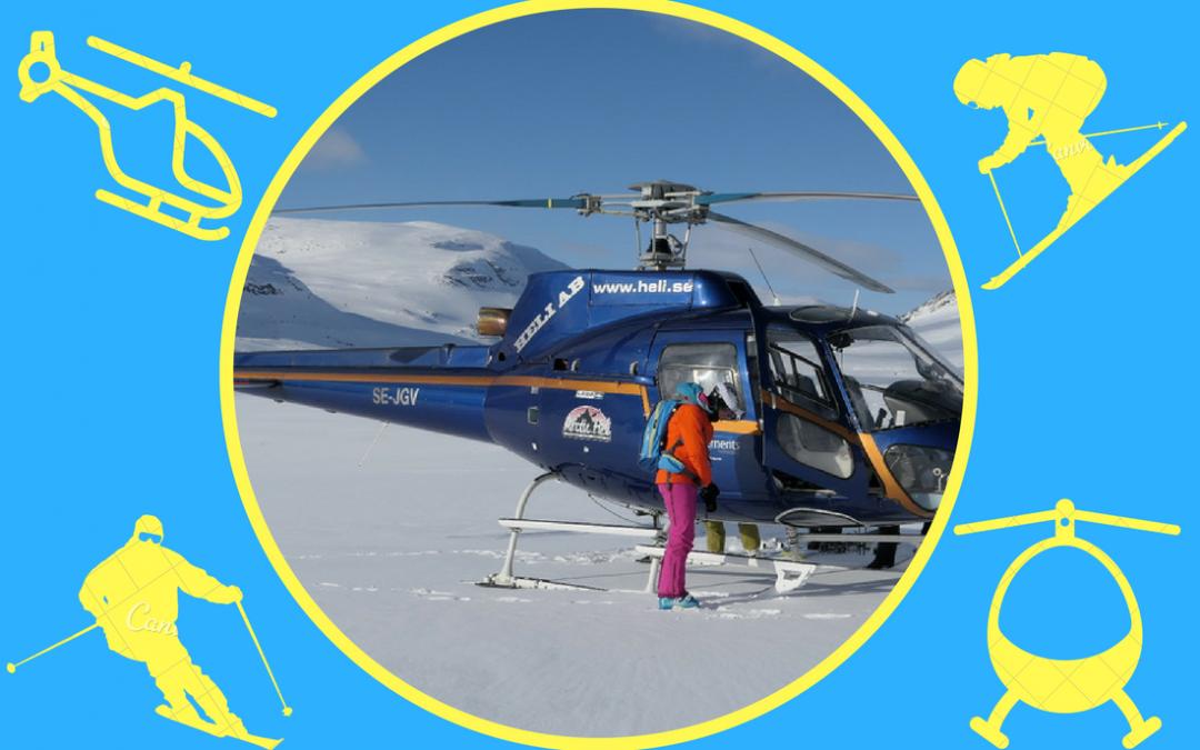 Heli-skiing na foto a videu